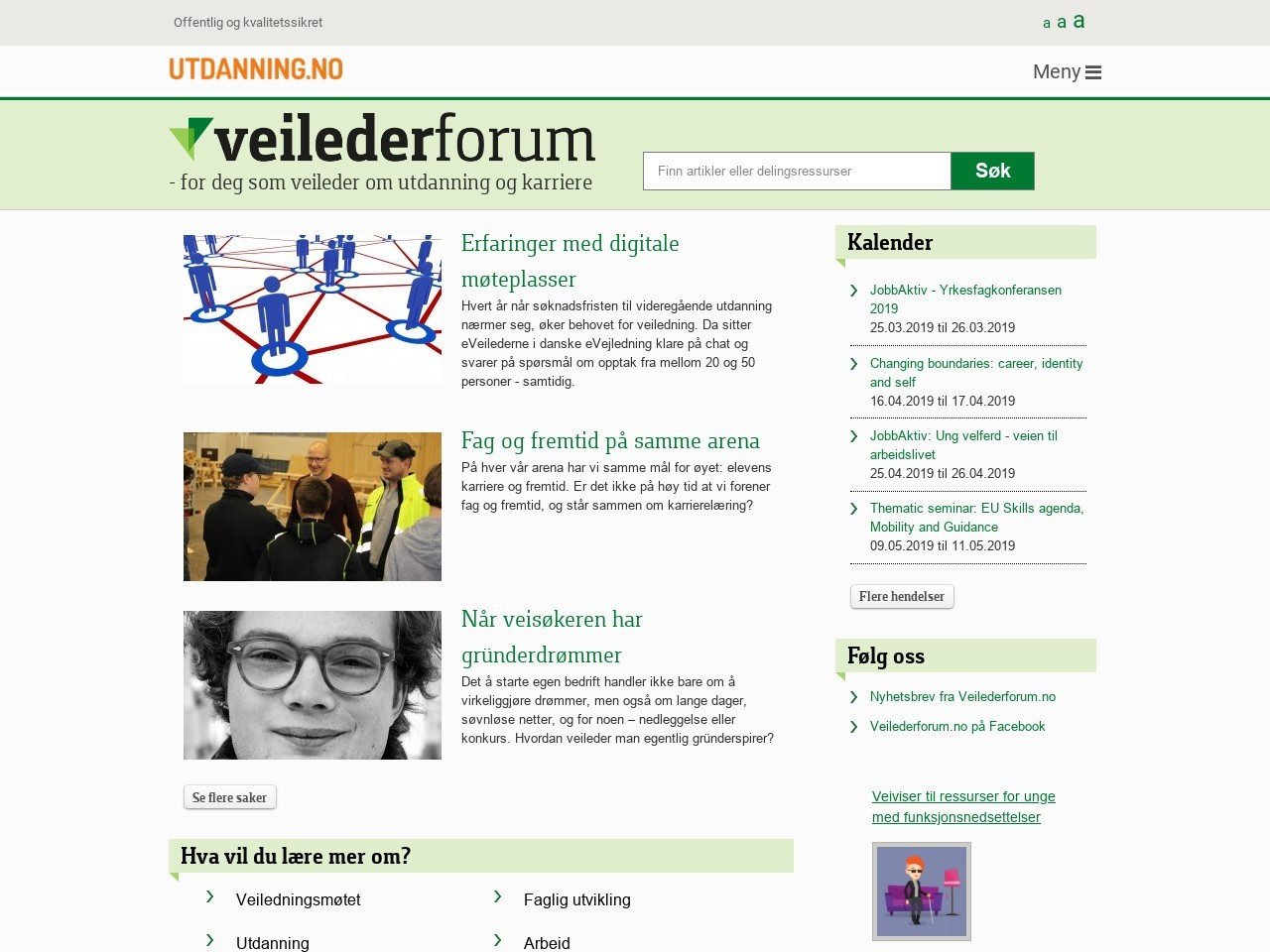 Skjermdump – Veilederforum